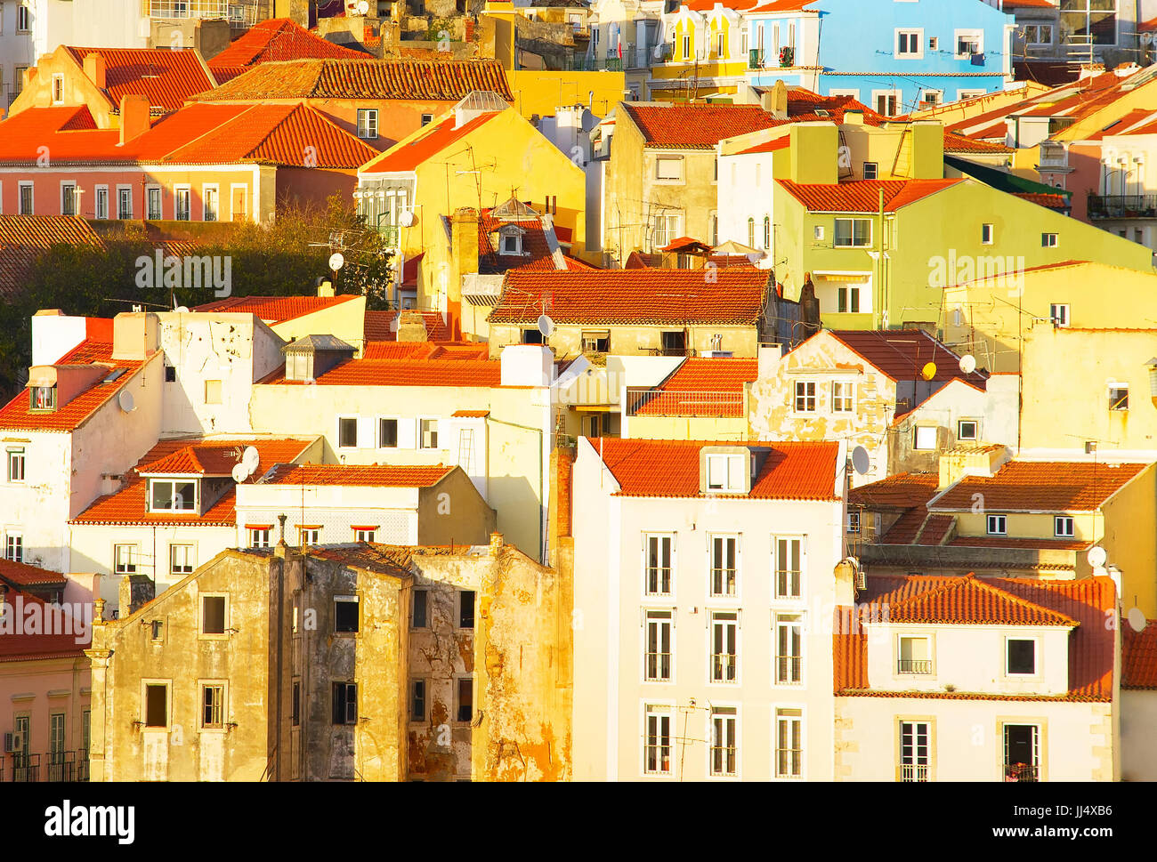 Traditional Portugal architecture in the Old Town of Lisbon. Background - Stock Image