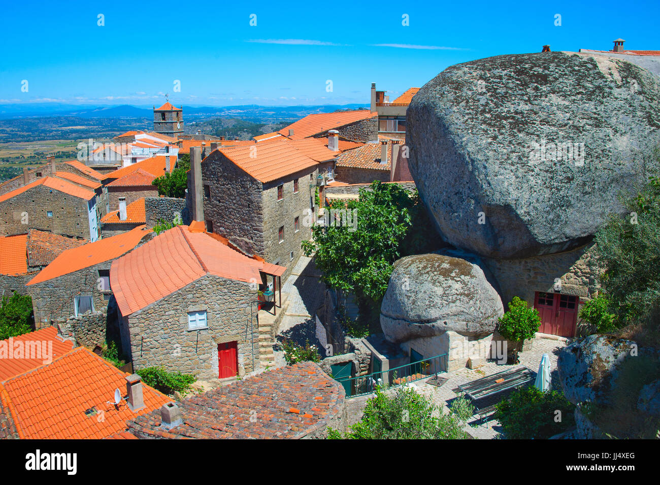 Overlooking of Monsanto village, Portugal. This village is famous for its stone houses. Stock Photo