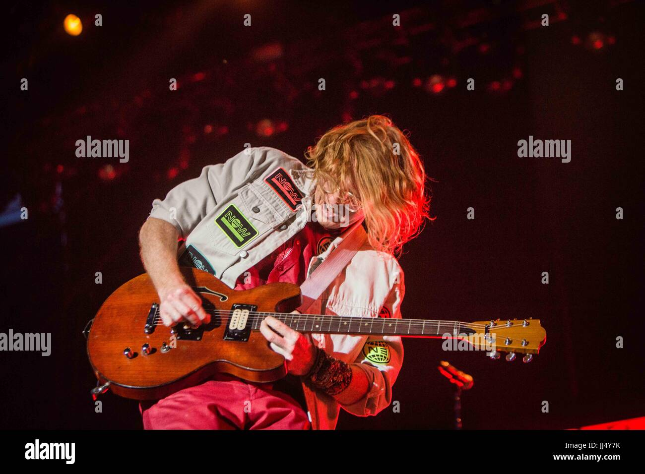 Milan, Italy. 17th July, 2017. Richard Reed Parry of the canadian indie rock band Arcade Fire pictured on stage - Stock Image
