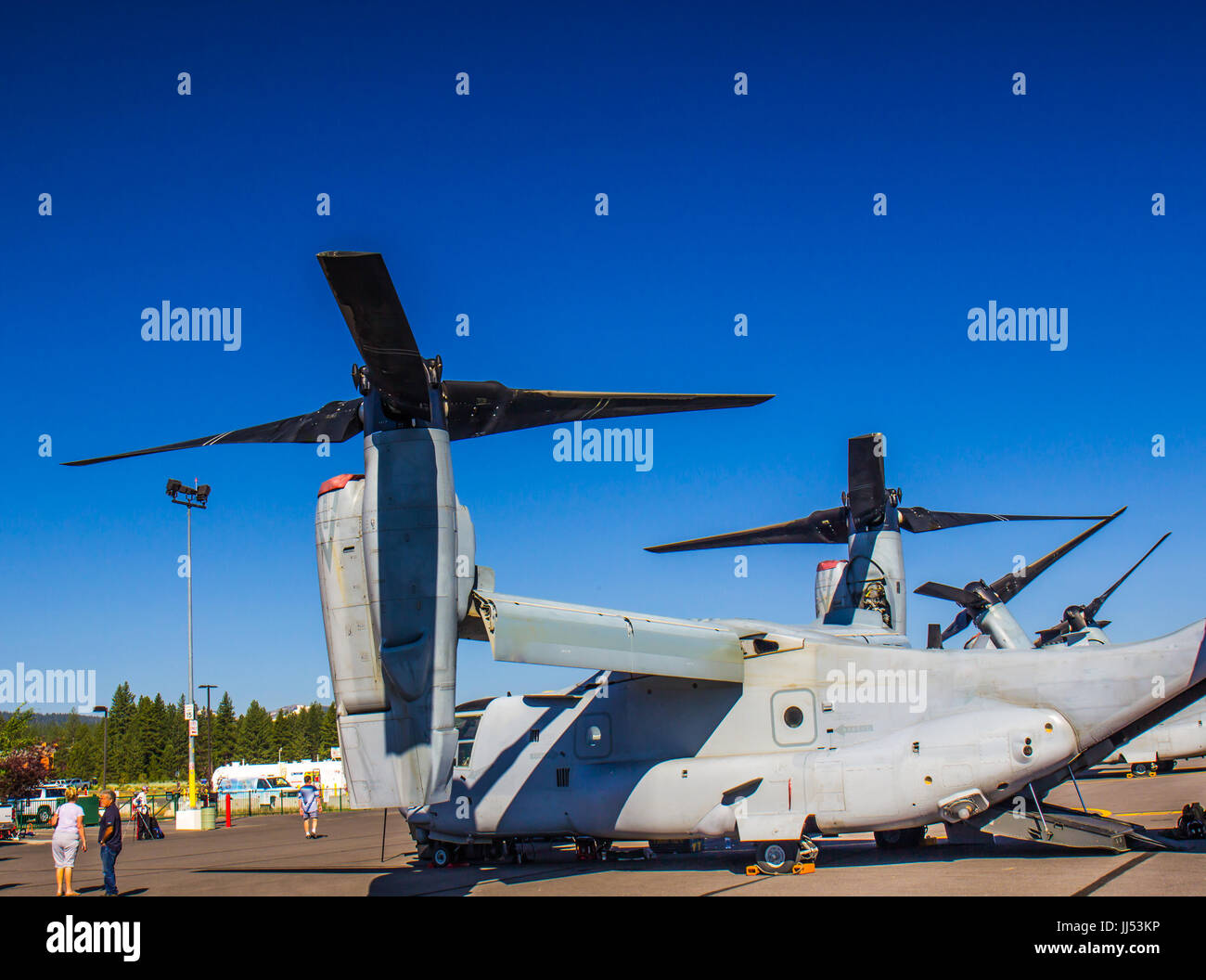 Large Tilted Propellers On Cargo Plane - Stock Image