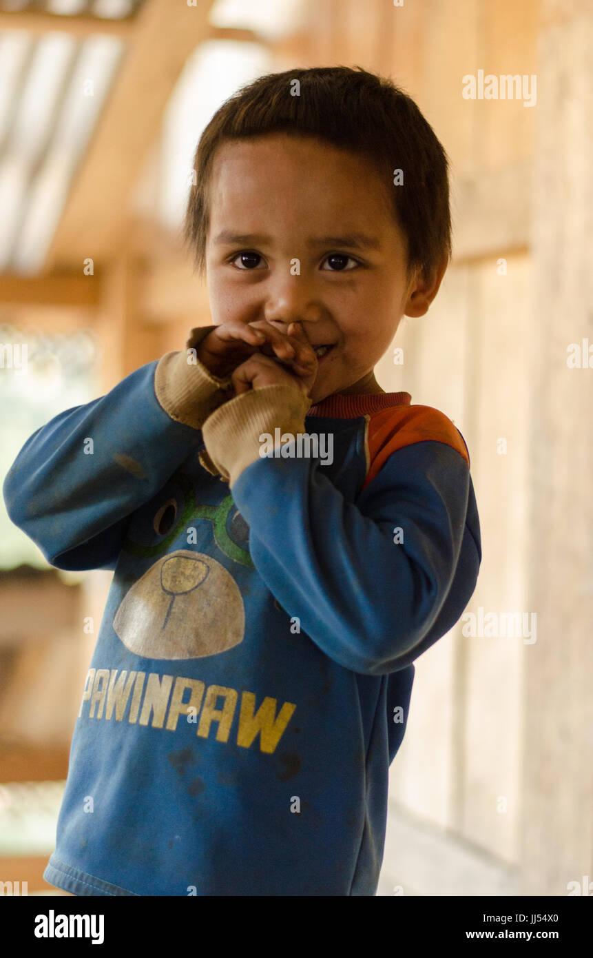 Laotian Kids, Phongsali, Laos - Stock Image