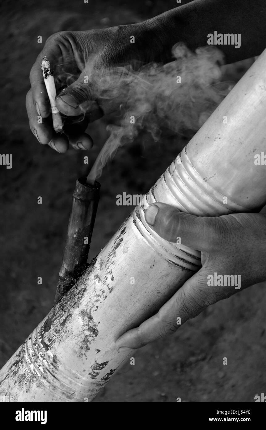 Smoking, Phongsali, Laos - Stock Image