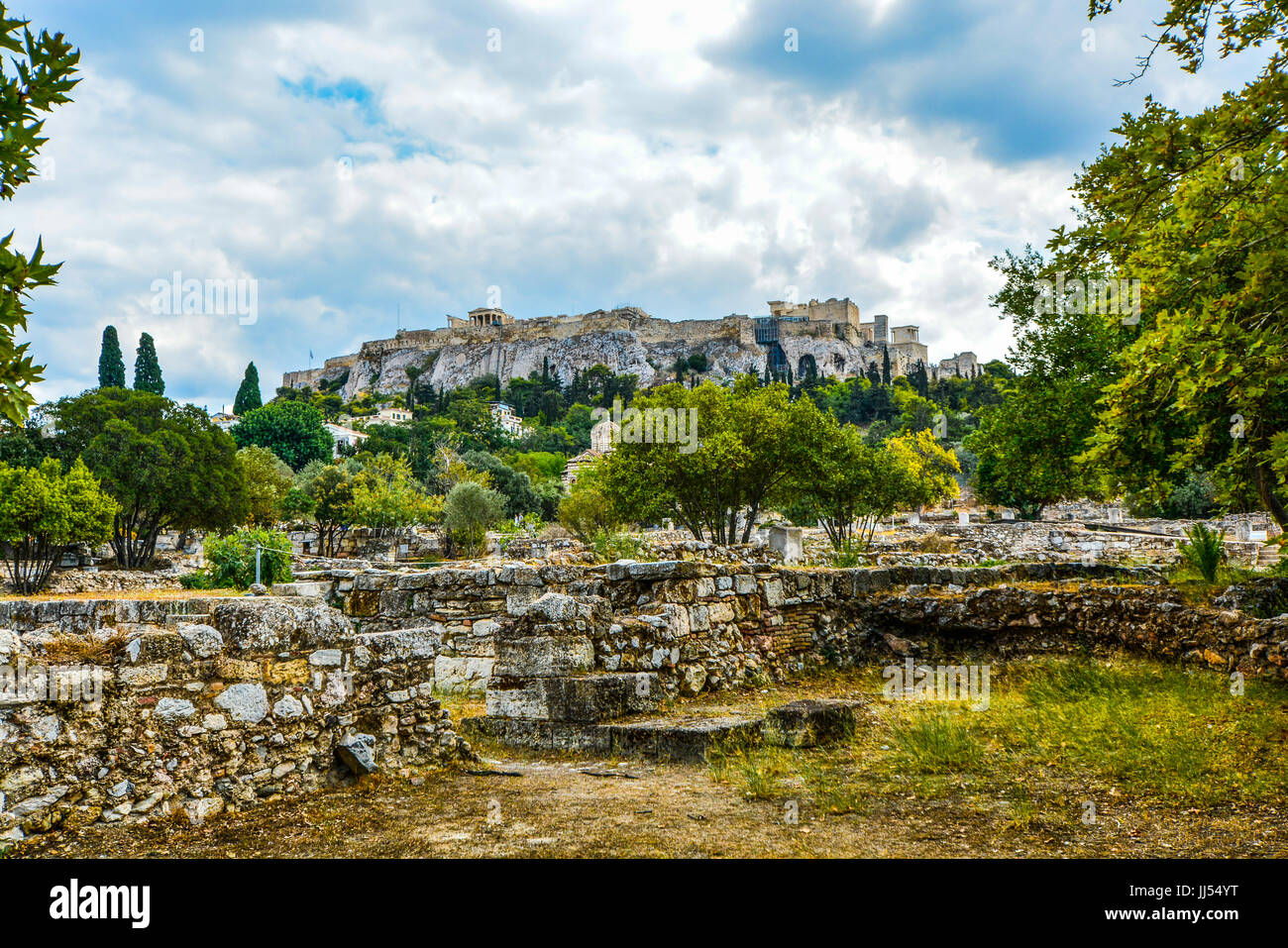 Athens Acropolis Hill. The Parthenon and Acropolis from the agora below in Athens Greece Stock Photo