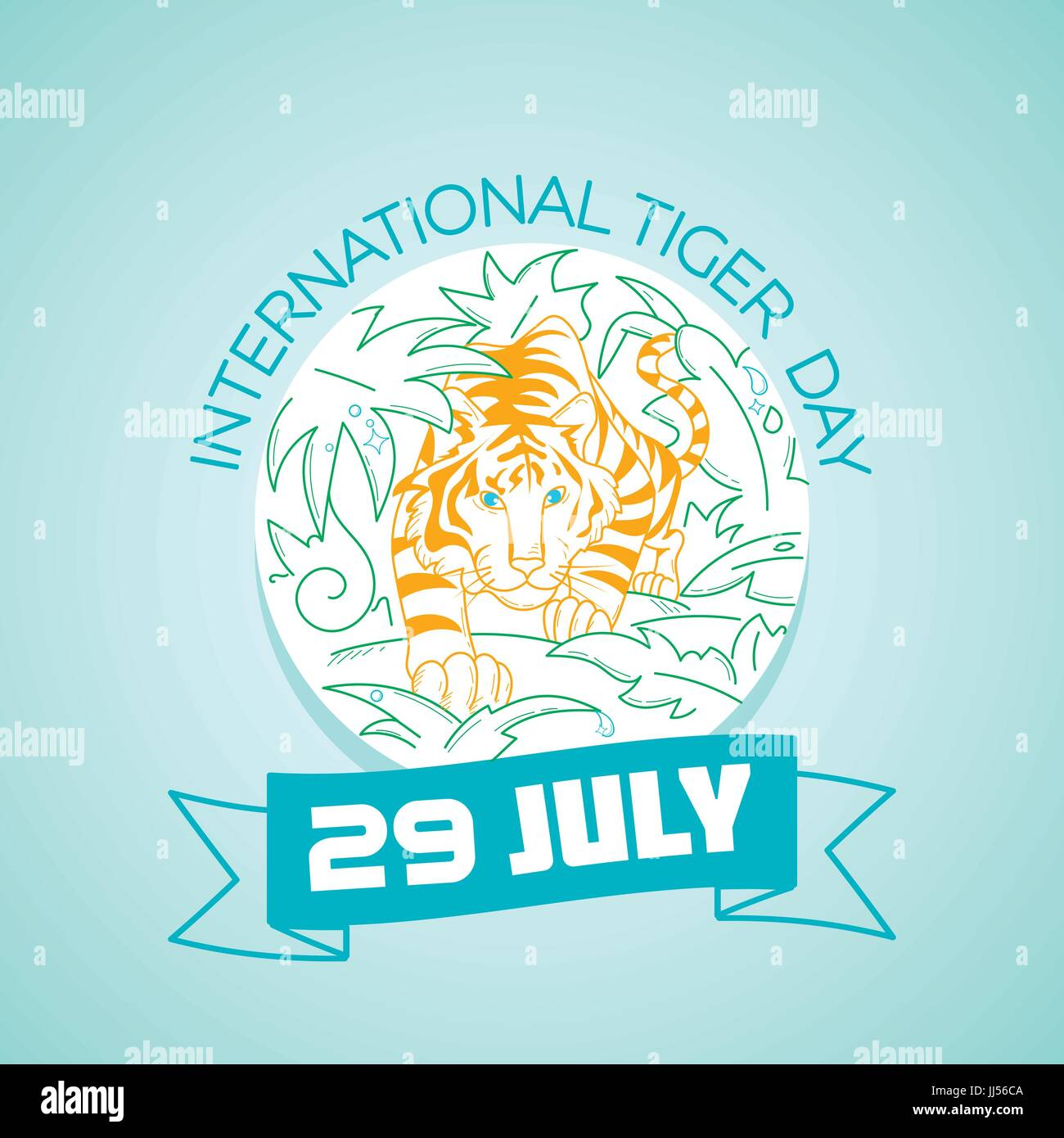 Calendar for each day on july 29. Greeting card. Holiday - International Tiger Day. Icon in the linear style Stock Vector