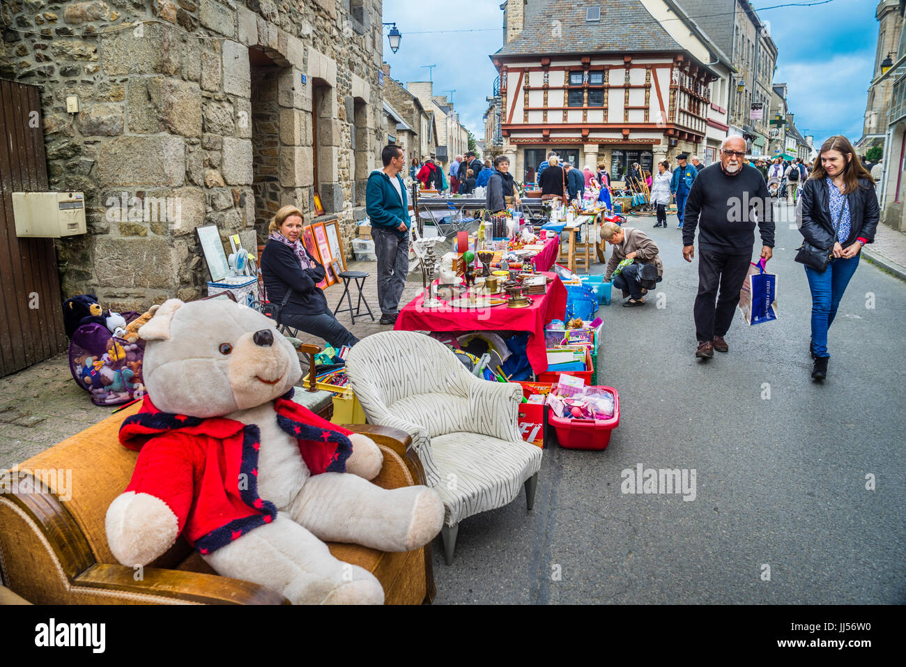 France, Brittany, Antiques Street Fair in the breton country town of Lanvollon - Stock Image