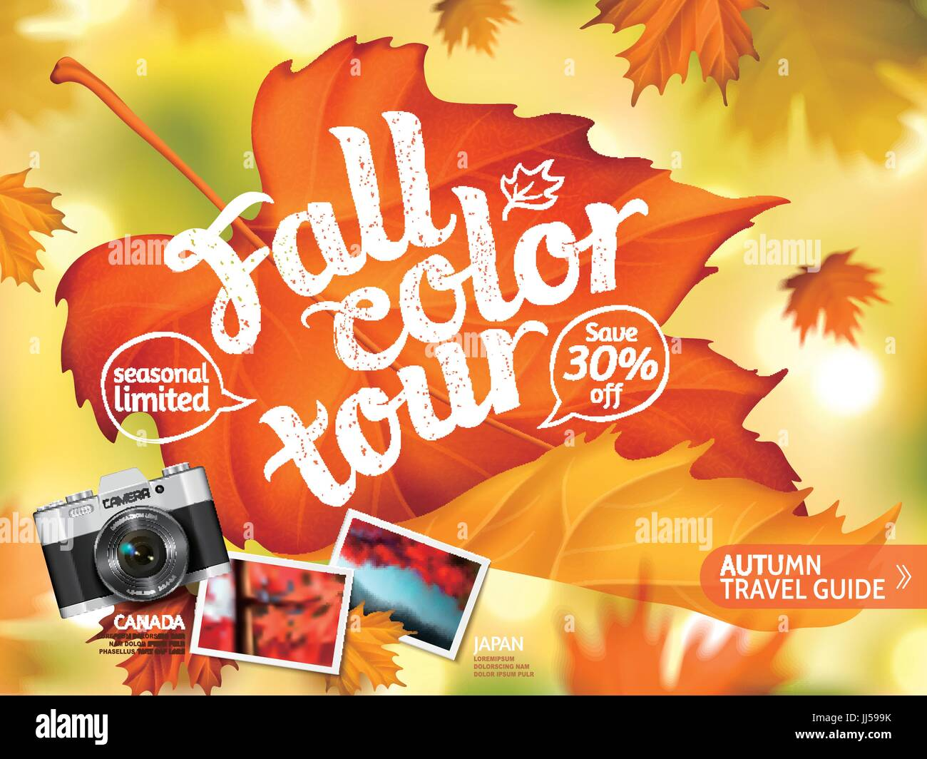 Fall color tour ads, autumn travel guide ads for travel agency or