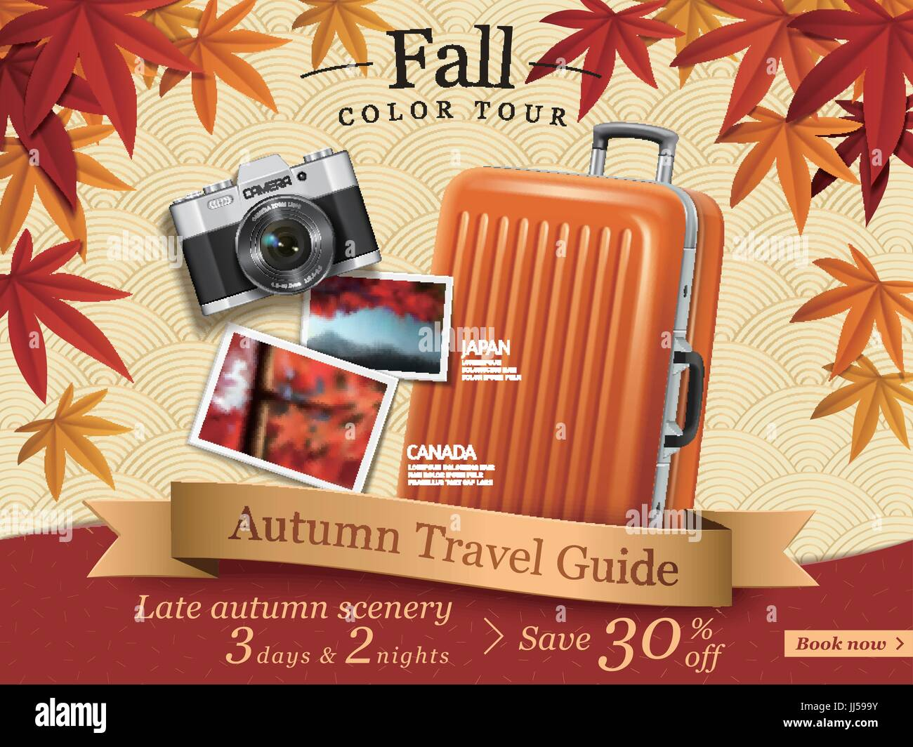 Fall color tour ads, autumn travel guide ads for travel agency or website with elegant maples frame and luggage, - Stock Vector