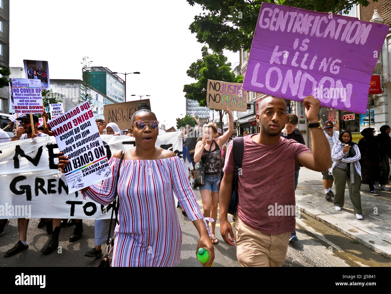 Following the fire at Grenfell Tower, friends and members of the community marched  from Shephards Bush to Westminster - Stock Image