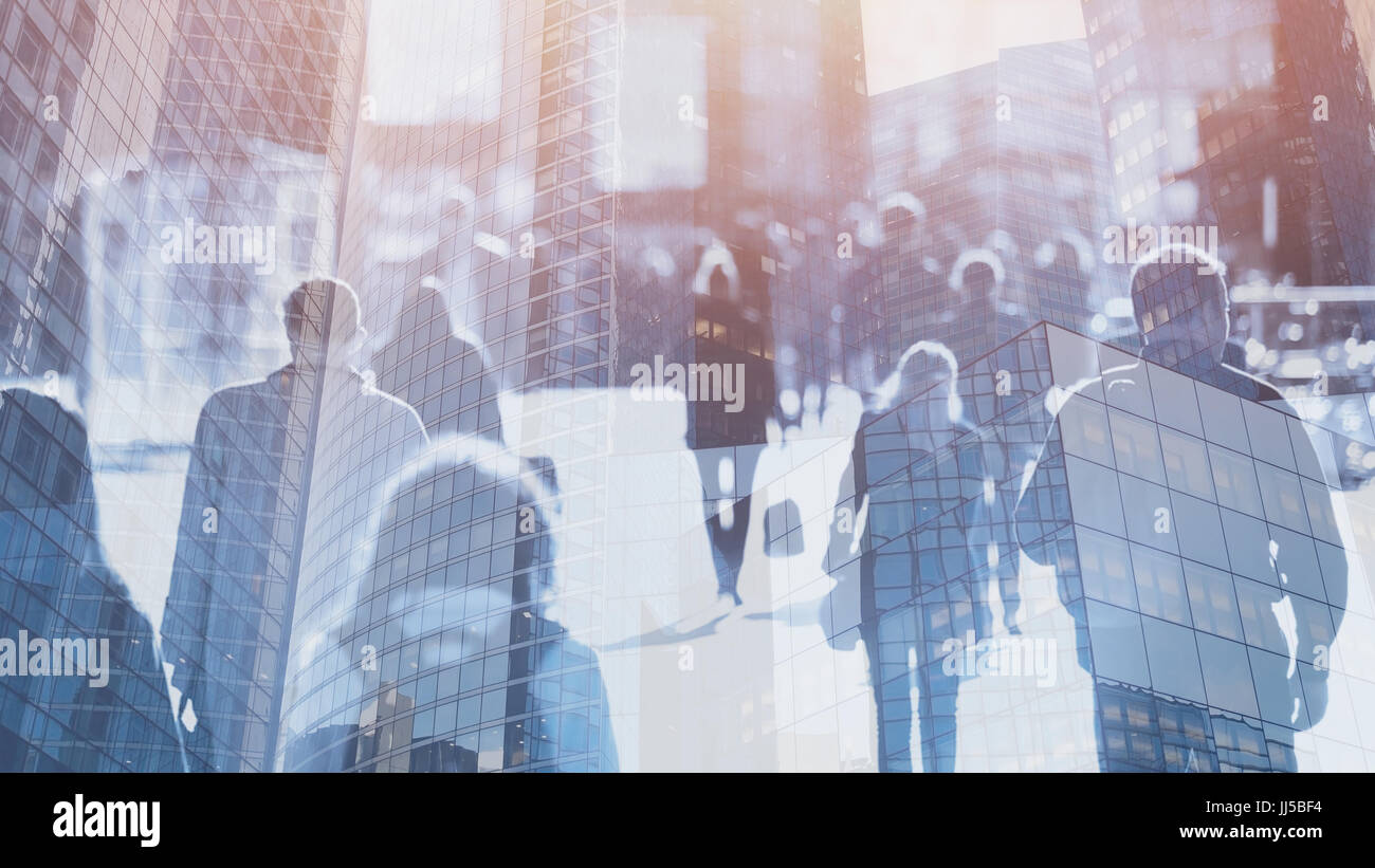 crowd of people walking on the street, double exposure abstract business background Stock Photo