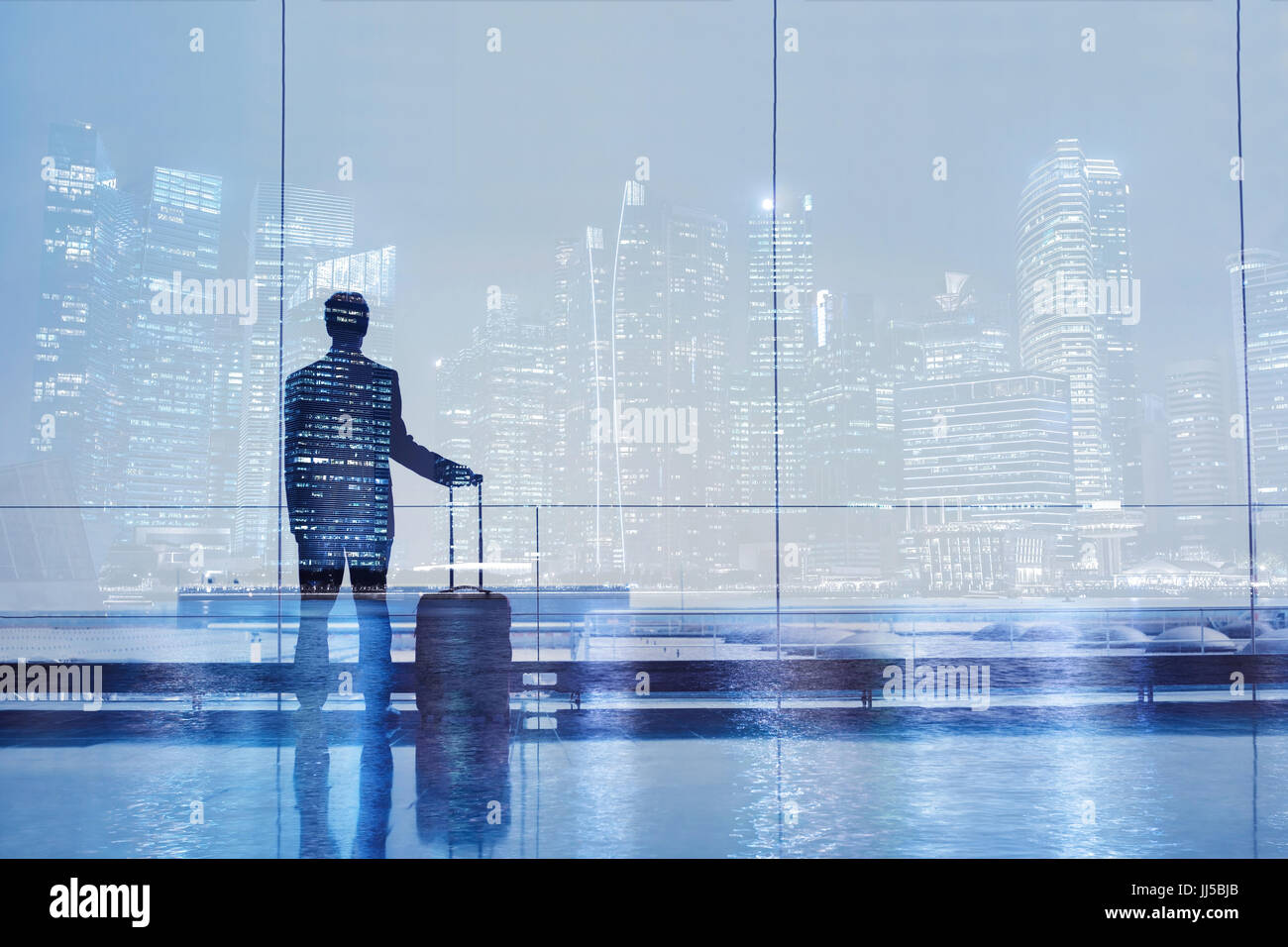 airport double exposure, business travel background, passenger with suitcase luggage - Stock Image
