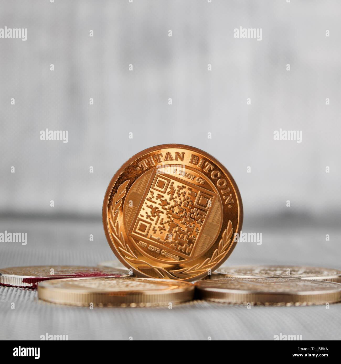 Digital currency physical gold titan bitcoin coin on the