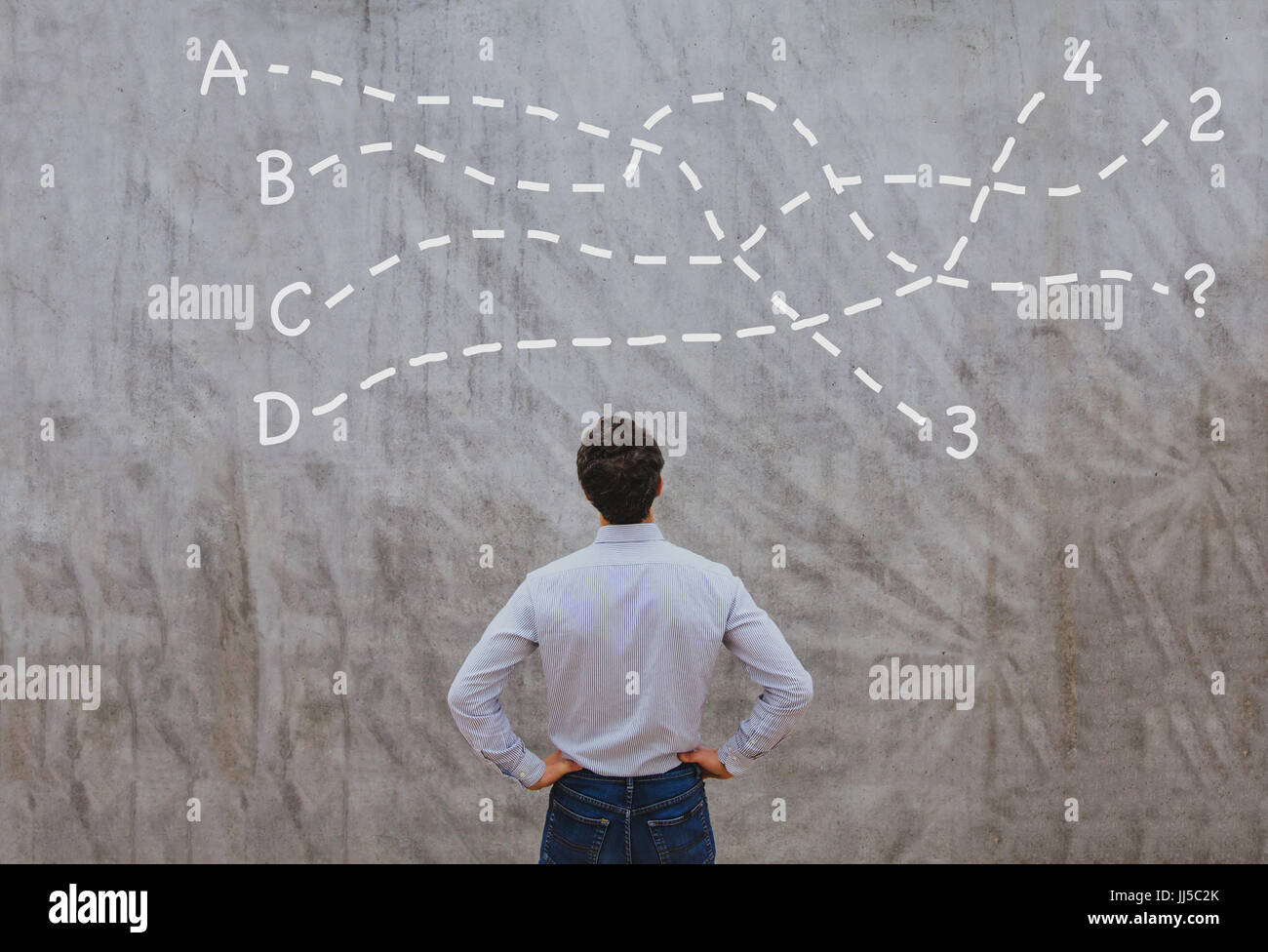 solution or conclusion concept, pensive businessman thinking about decision Stock Photo