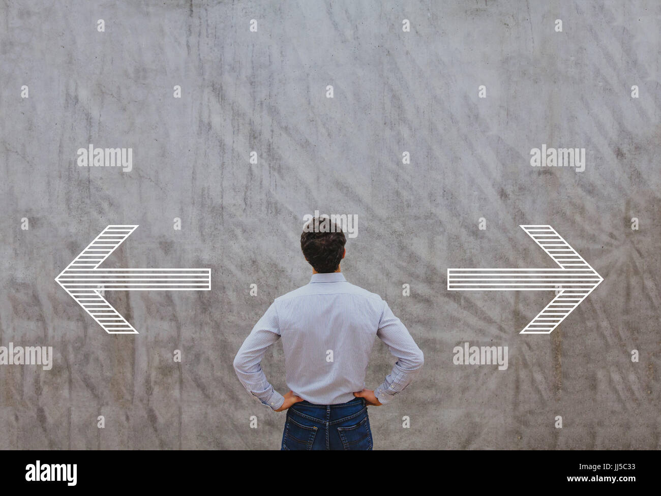right or left, choosing direction concept - Stock Image