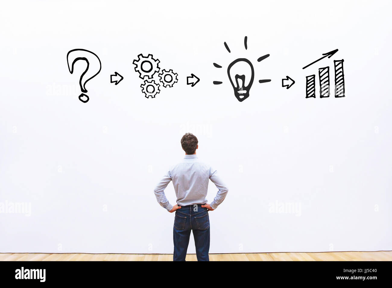 boost business concept, process from idea to result - Stock Image