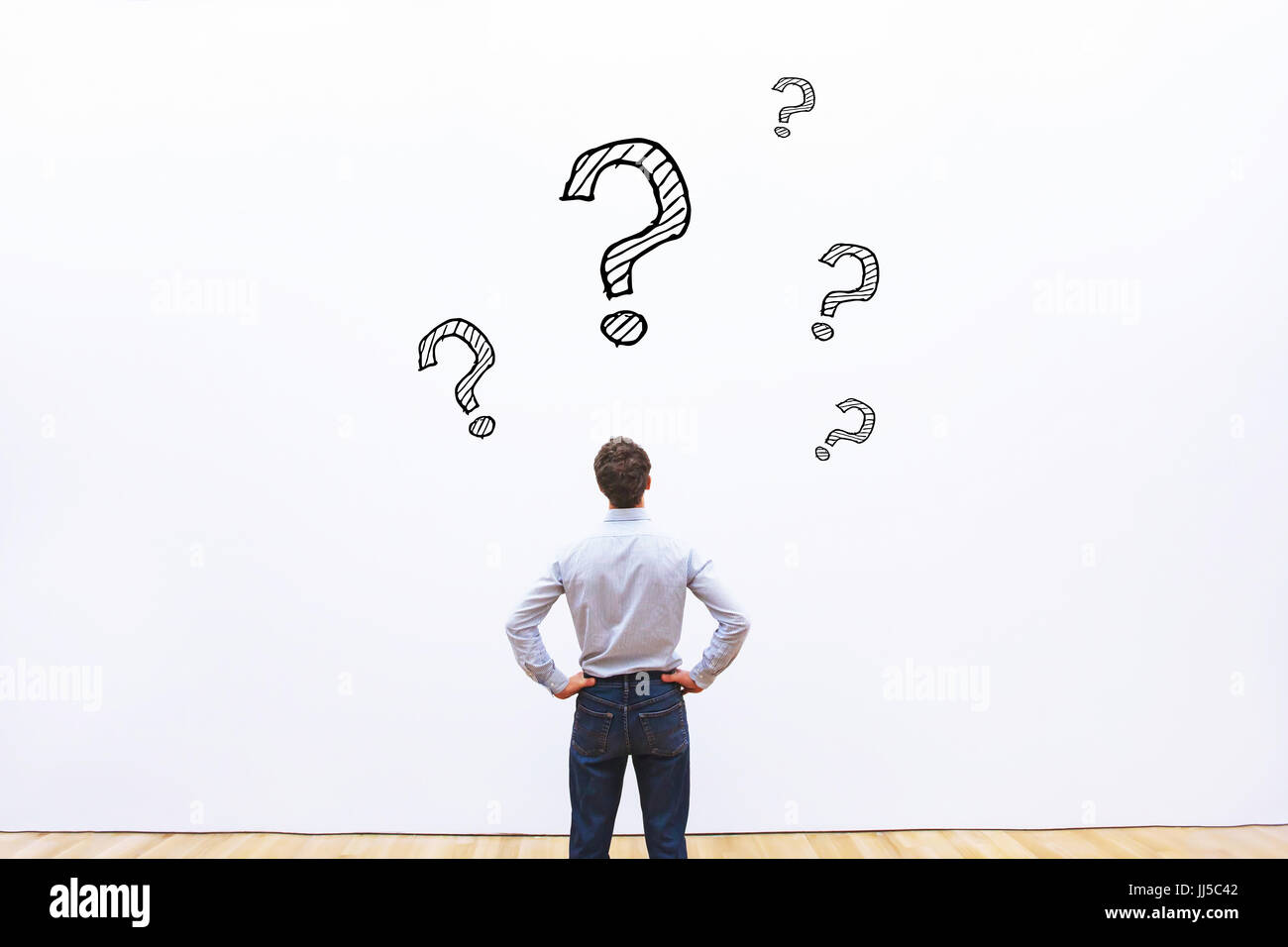 question concept, business man thinking - Stock Image