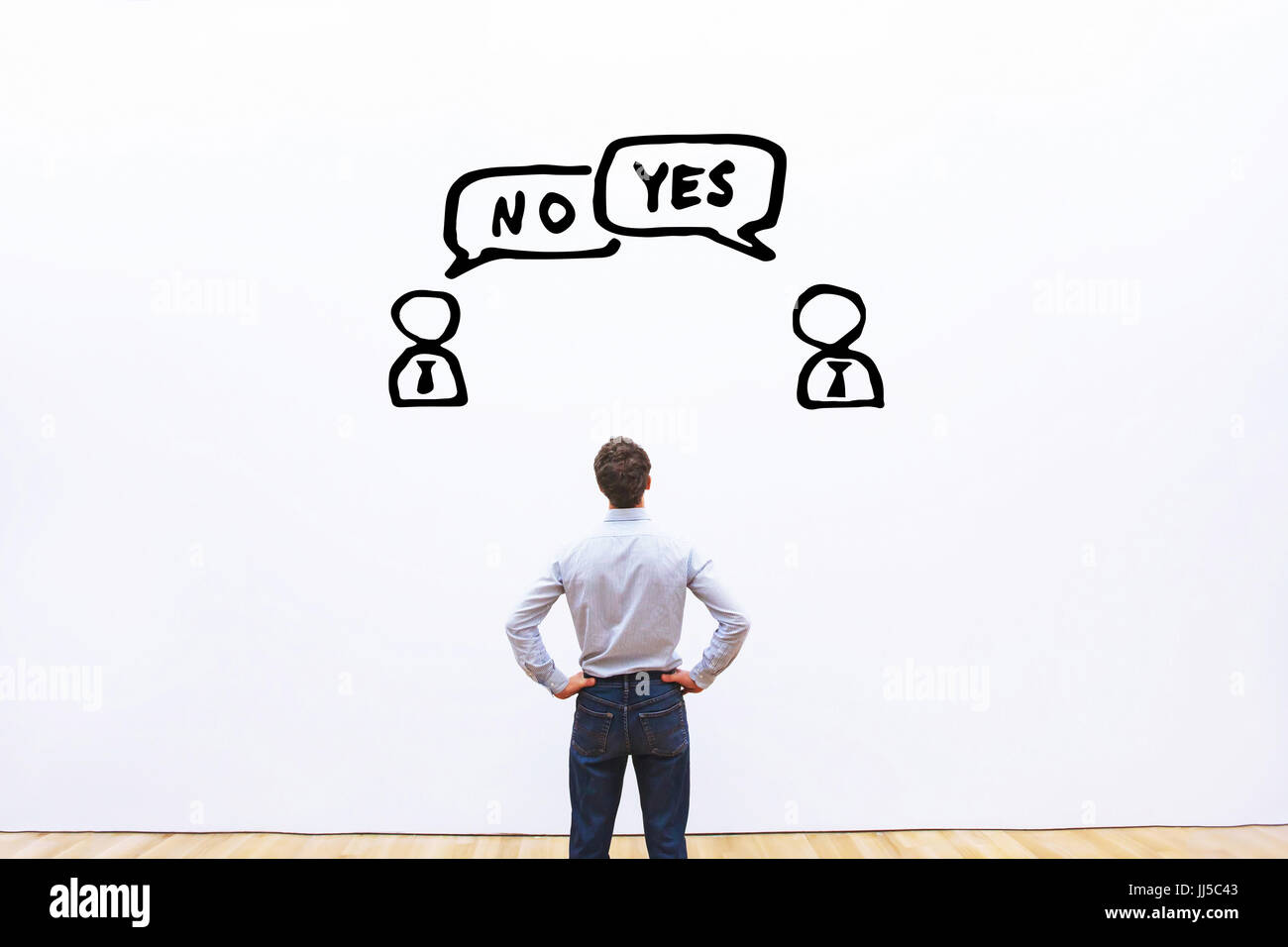 yes vs no, negotiation, dialog or dispute concept, discussion of two business people with different opinions - Stock Image