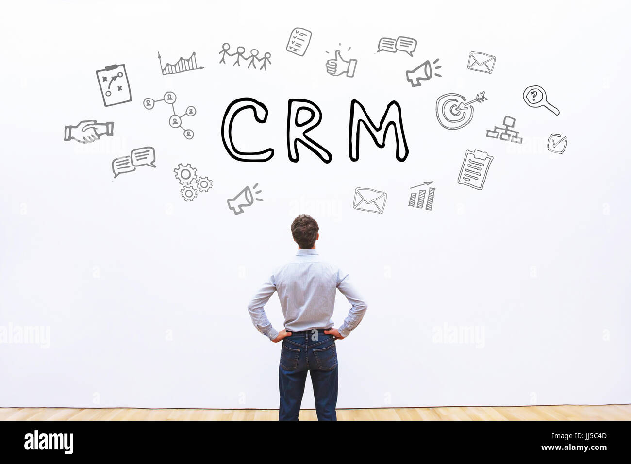 CRM concept on white background, Customer Relationship Management - Stock Image