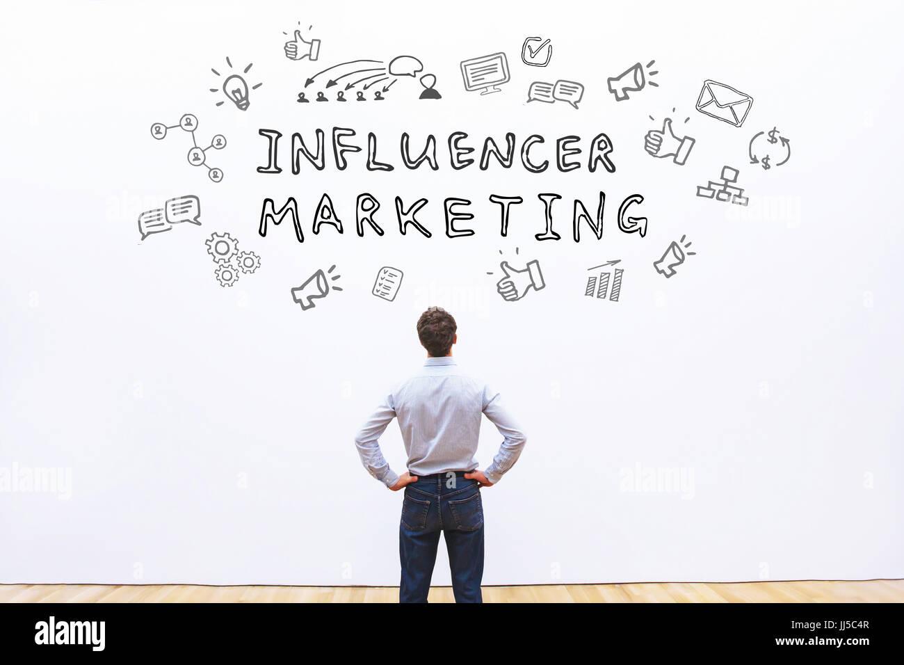 influencer marketing concept - Stock Image