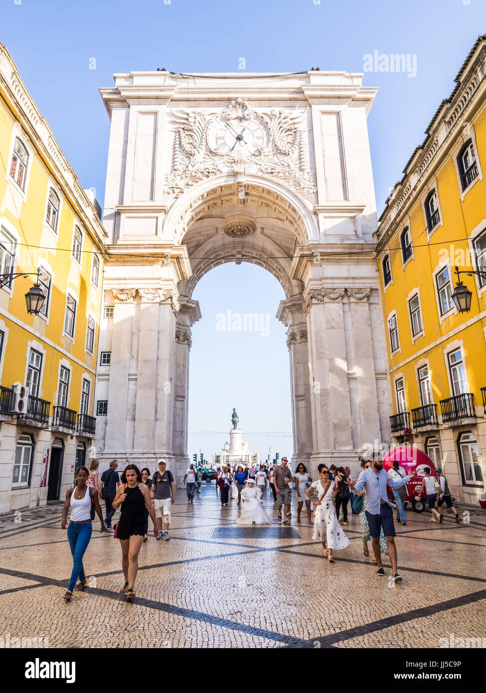 LISBON, PORTUGAL - JUNE 13, 2017: The Rua Augusta Arch, a triumphal arch-like, historical building in Lisbon, Portugal, - Stock Image