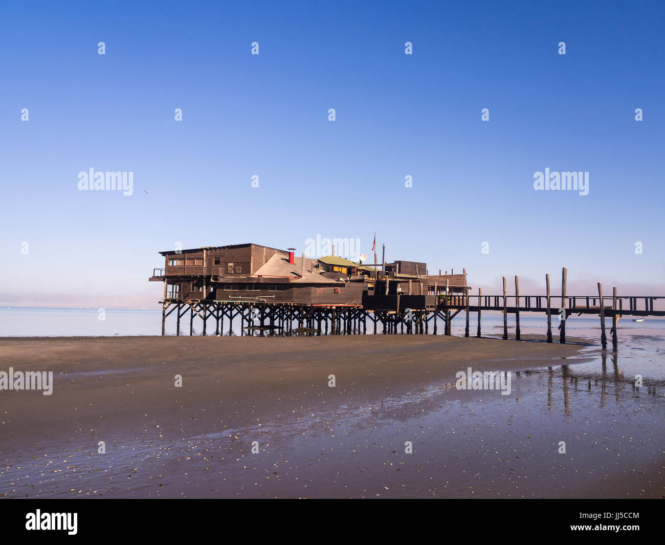 The Raft restaurant in Walvis Bay, Namibia, shortly after sunrise. Stock Photo