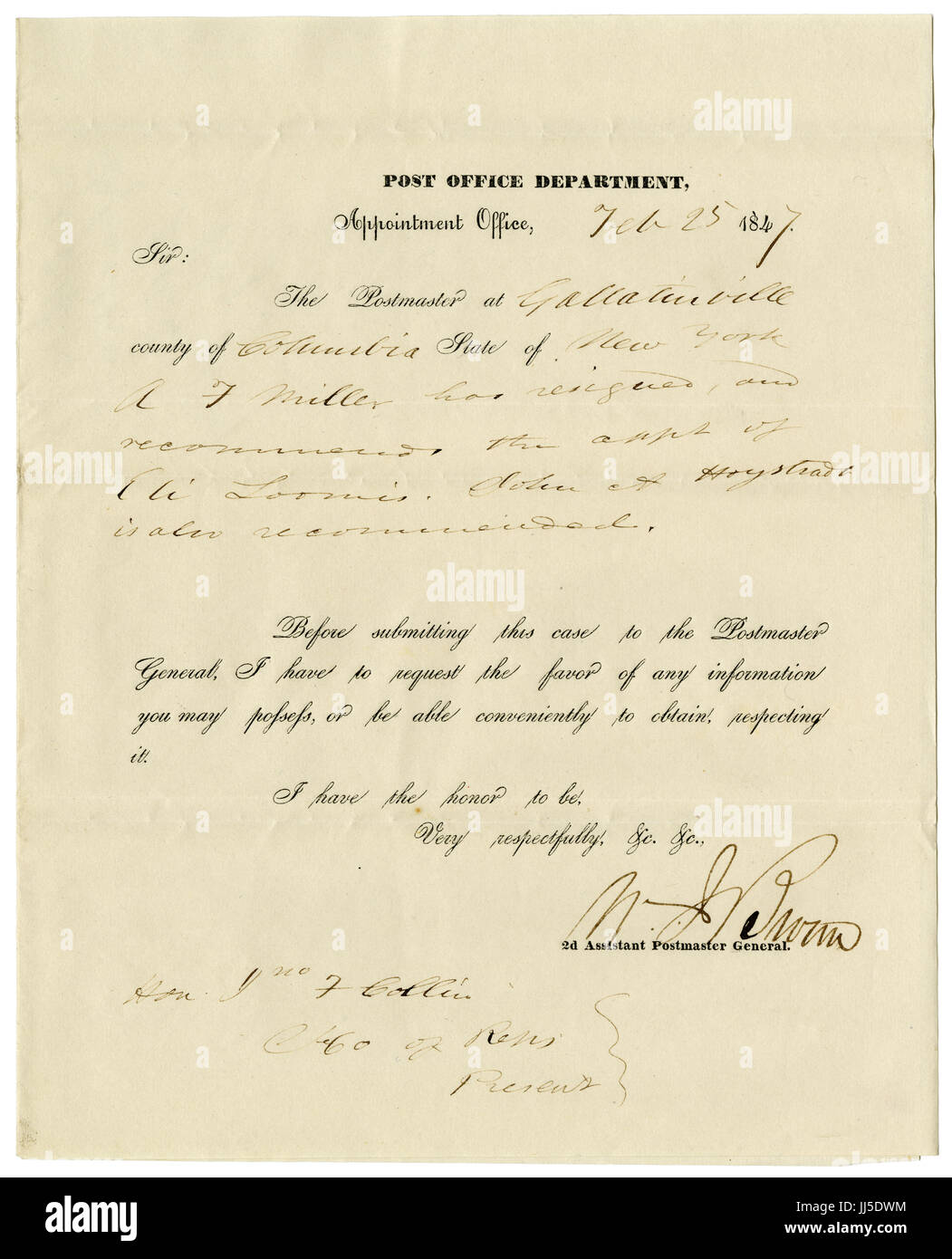 Antique 1847 letter from the Appointment Office of the Post Office Department, relating to the resignation of Postmaster - Stock Image