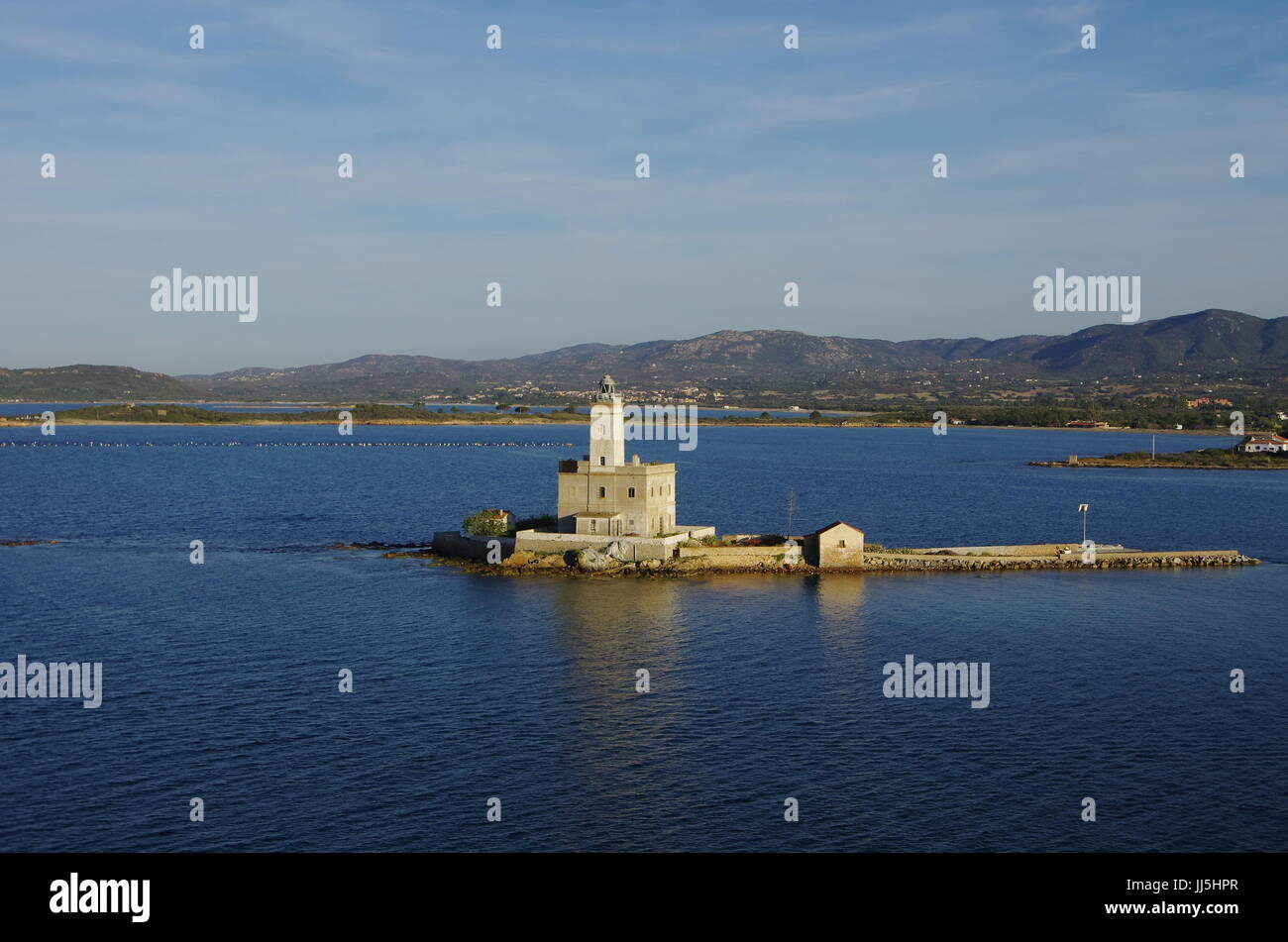 The lighthouse at the entrance of Olbia's gulf - Stock Image