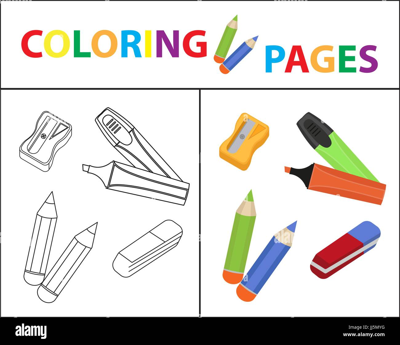 Coloring Book Page Back To School Set Marker Pencils Sharpener