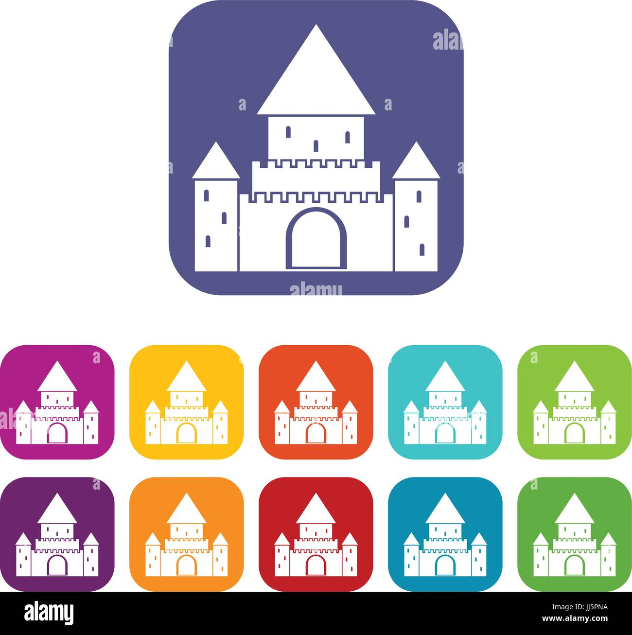 Chillon Castle, Switzerland icons set - Stock Vector