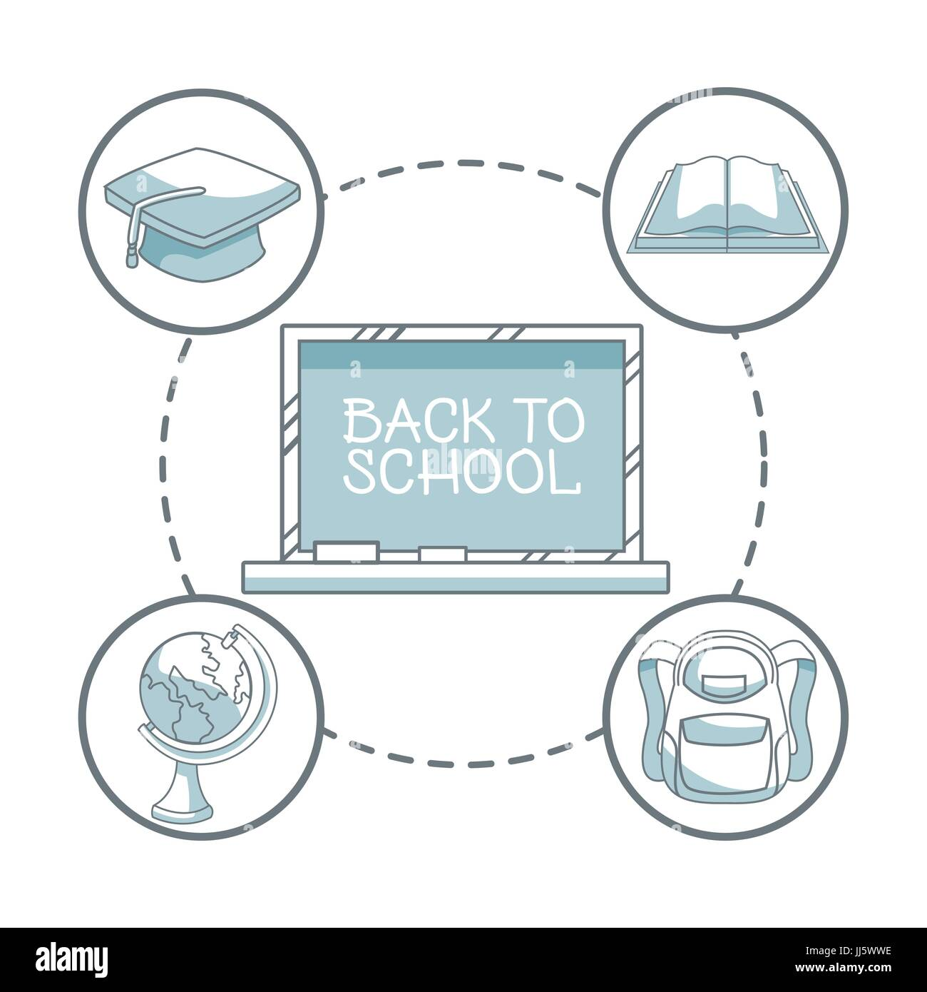 white background with color silhouette shading of chalk board with text back to school and icons elements academic - Stock Image