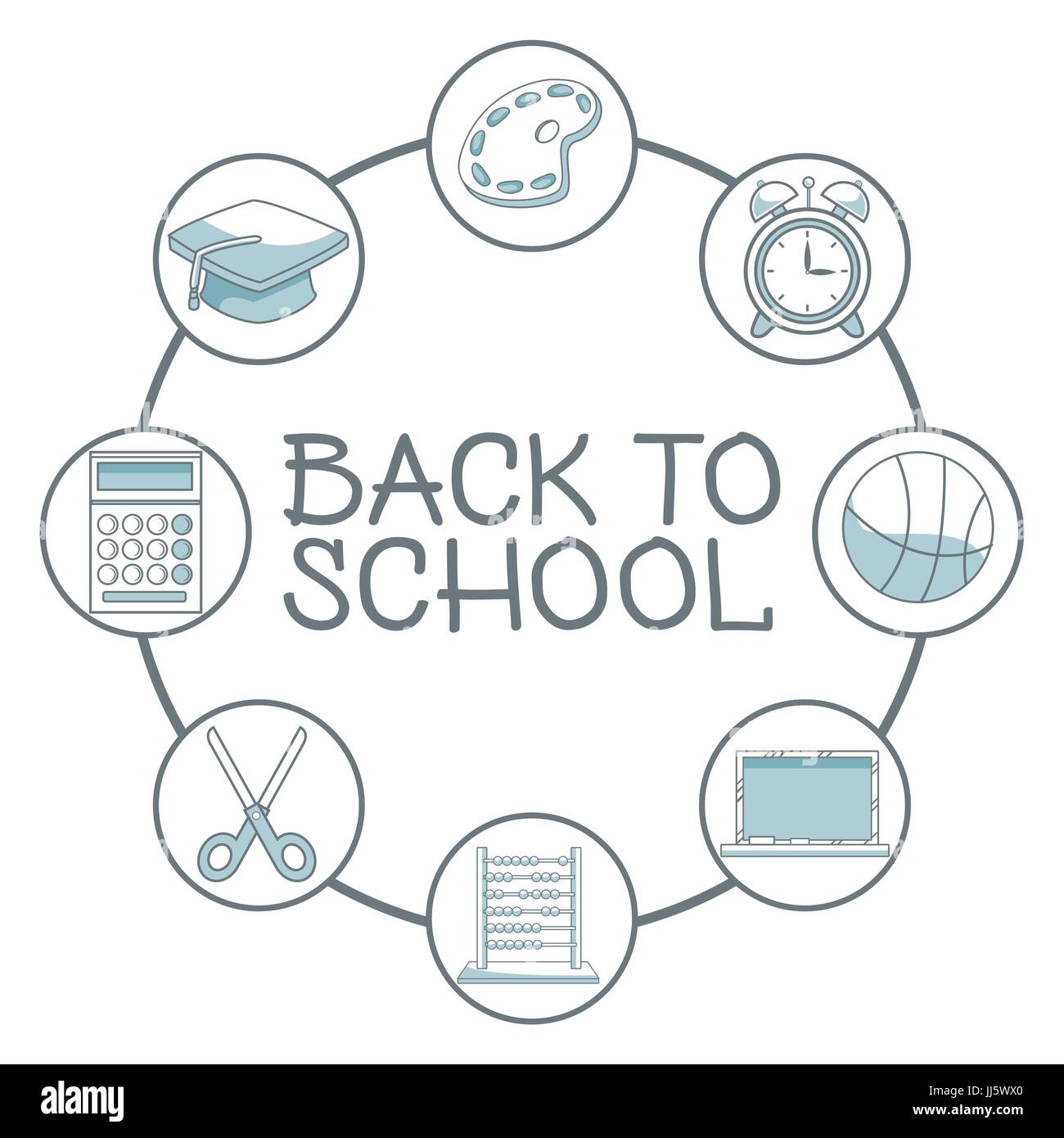 white background with color silhouette shading of school elements academic around to text back school - Stock Image