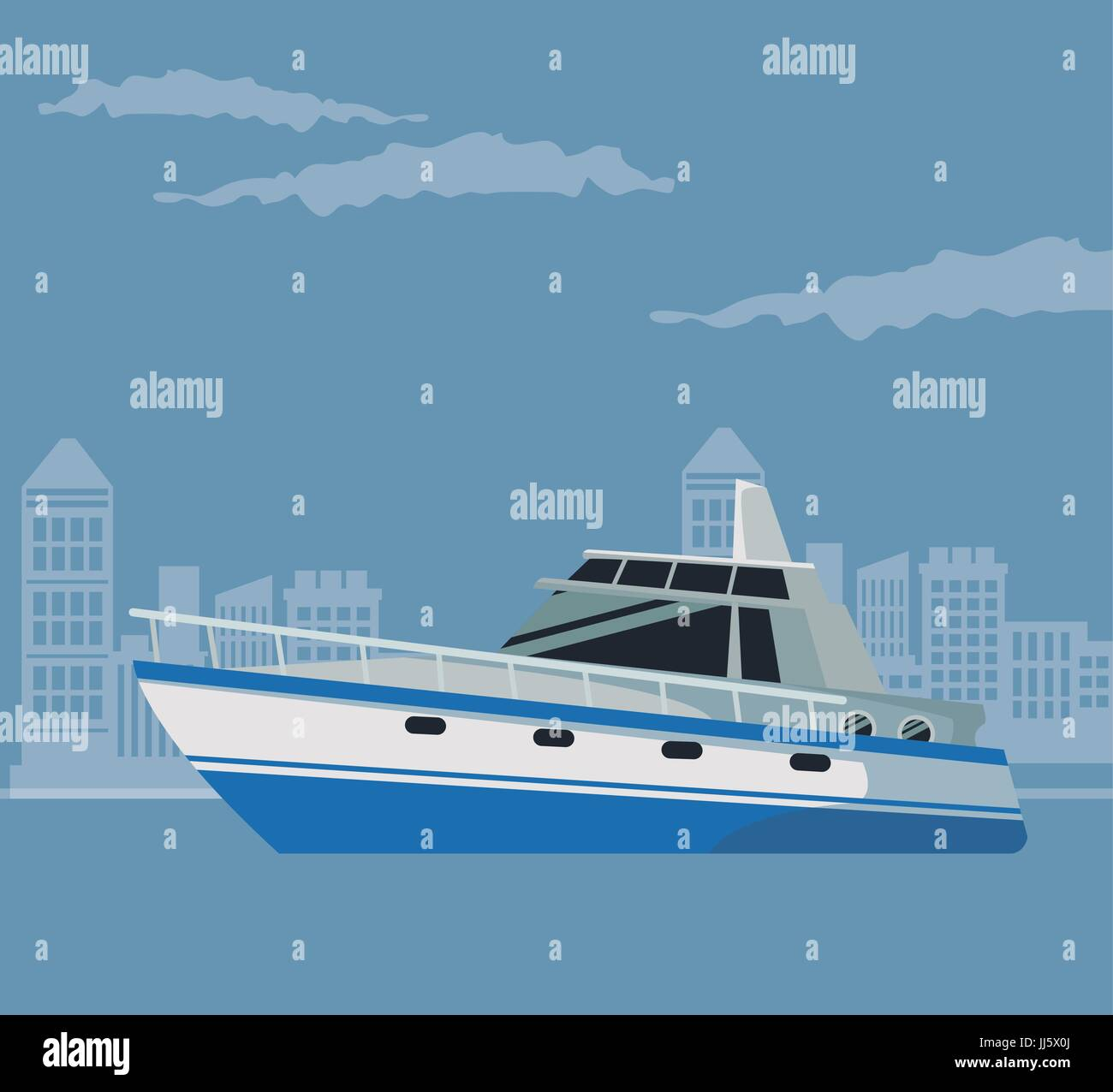 color poster city landscape with boat over water - Stock Vector