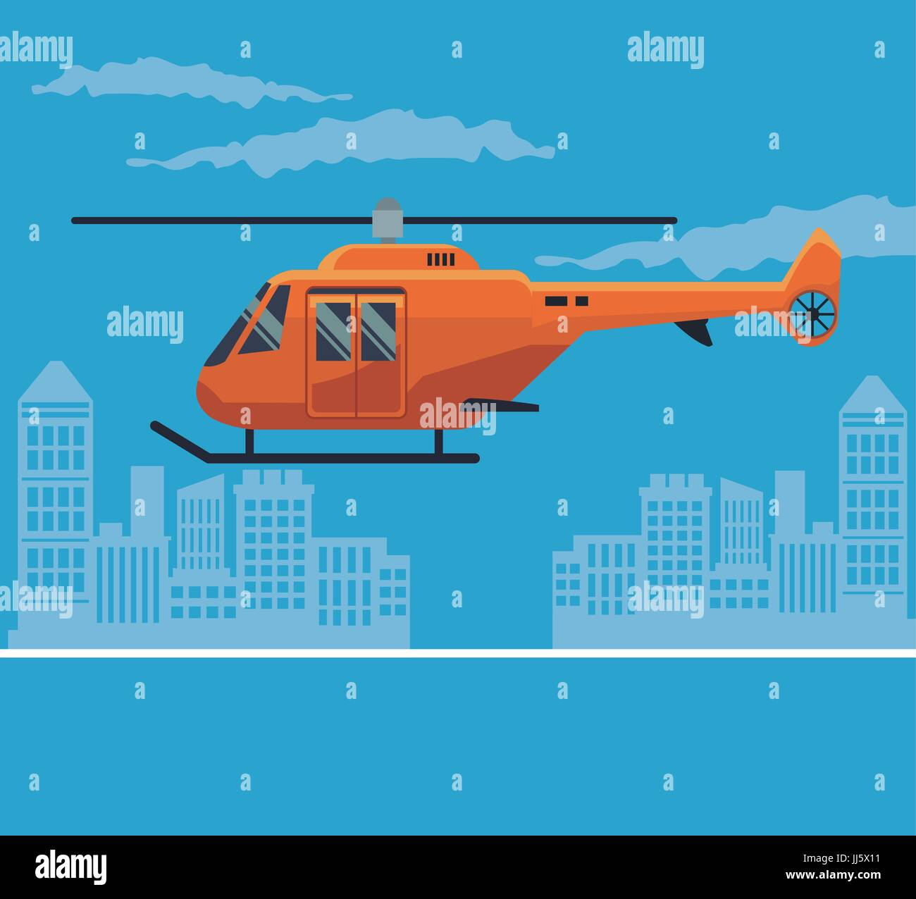 color poster city landscape with helicopter in flight - Stock Image