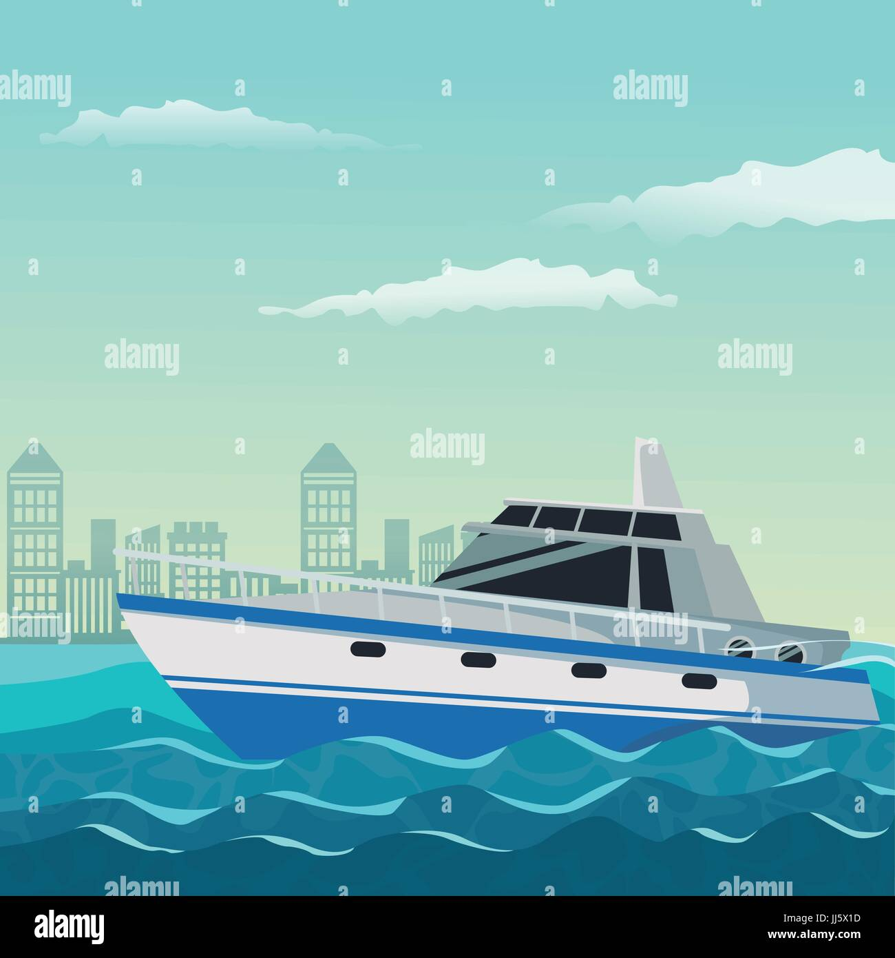 color background city landscape with boat over water - Stock Vector