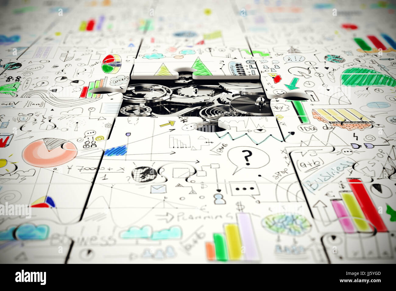 Gears under a missing piece of a puzzle - Stock Image