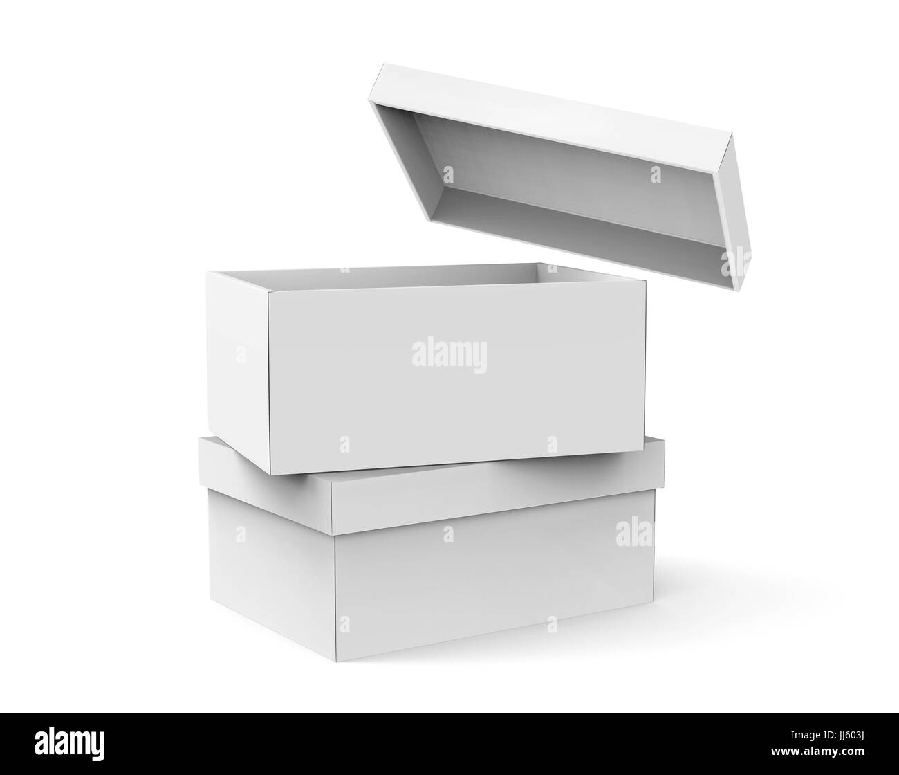 Blank Paper Box Template Two Boxes Mockup With Lid Floating In The Air 3d Rendering Side View