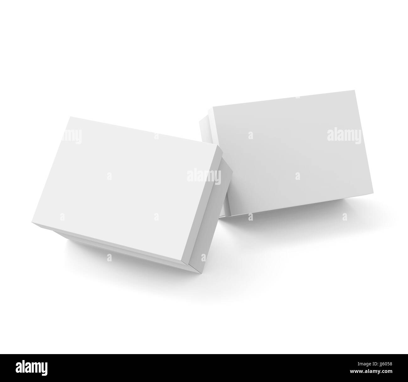 Blank paper box template two boxes mockup with lid in 3d rendering blank paper box template two boxes mockup with lid in 3d rendering elevated view maxwellsz