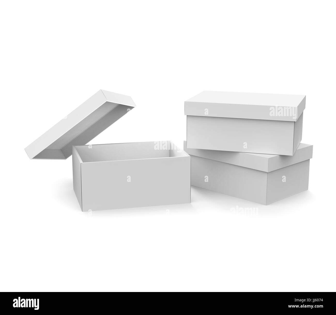 Blank Paper Box Template Three Boxes Mockup With Lid In 3d Rendering One Open And Lean On It