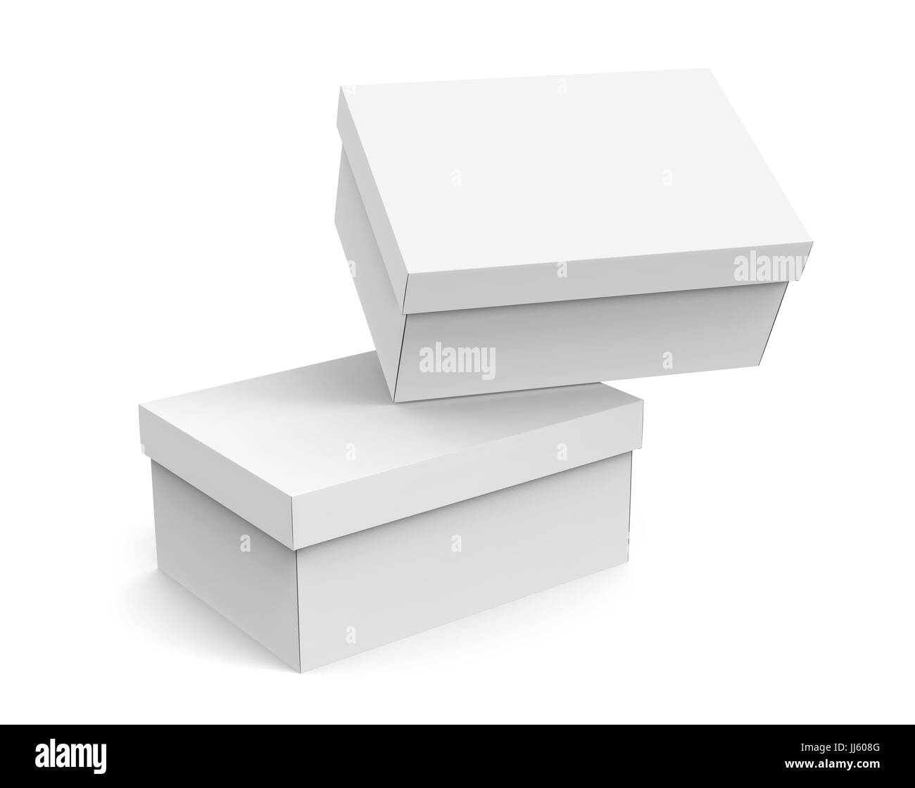 Blank Paper Box Template Two Boxes Mockup With Lid In 3d Rendering One Floating The Air