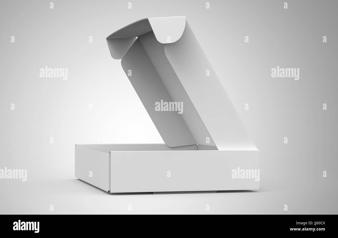 Blank Tuck Top Box Template Open Paper Mockup Isolated On Light Gray Background Side View
