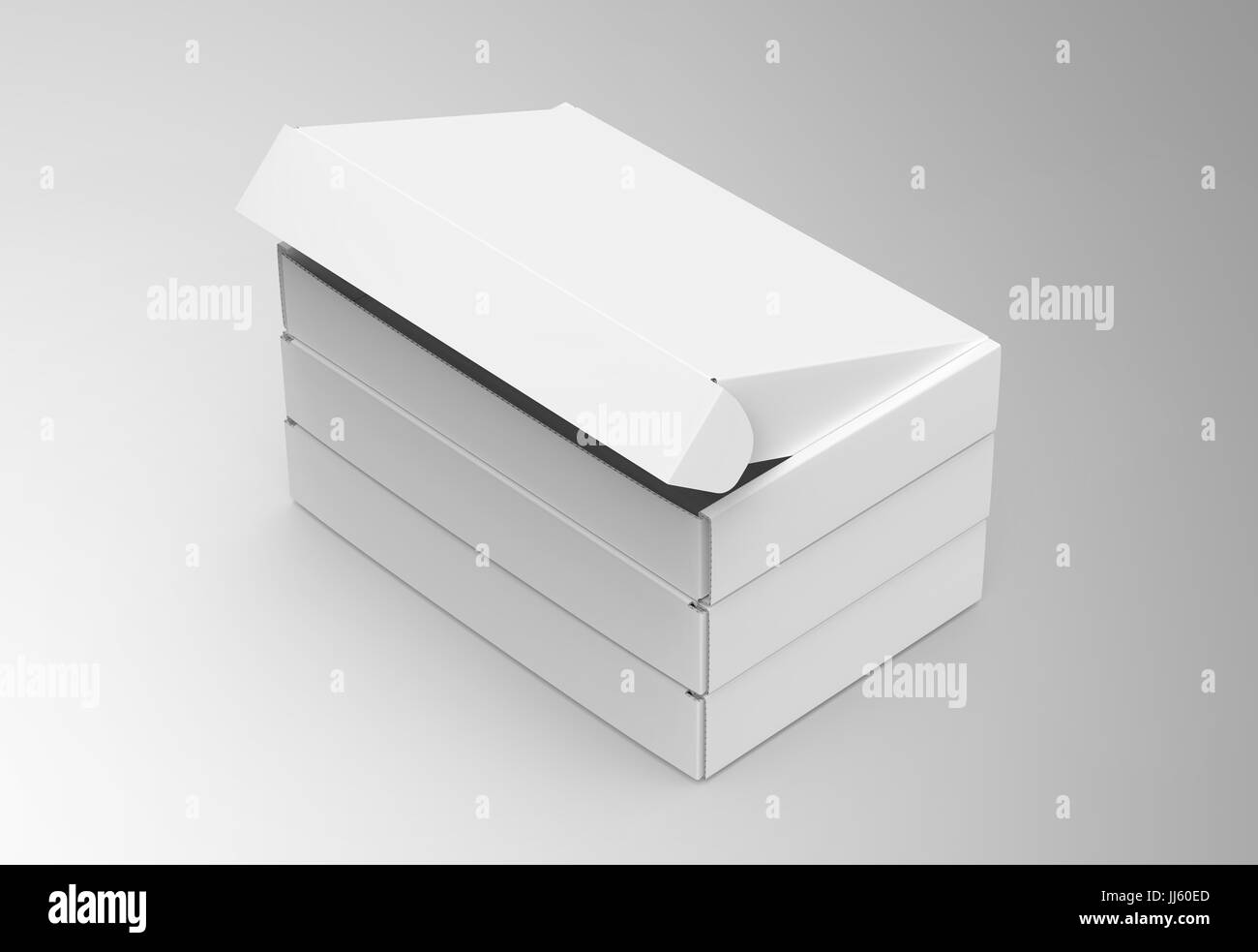 Blank Tuck Top Box Template Stack Of Paper Boxes Mockup Isolated On Light Gray Background Elevated View