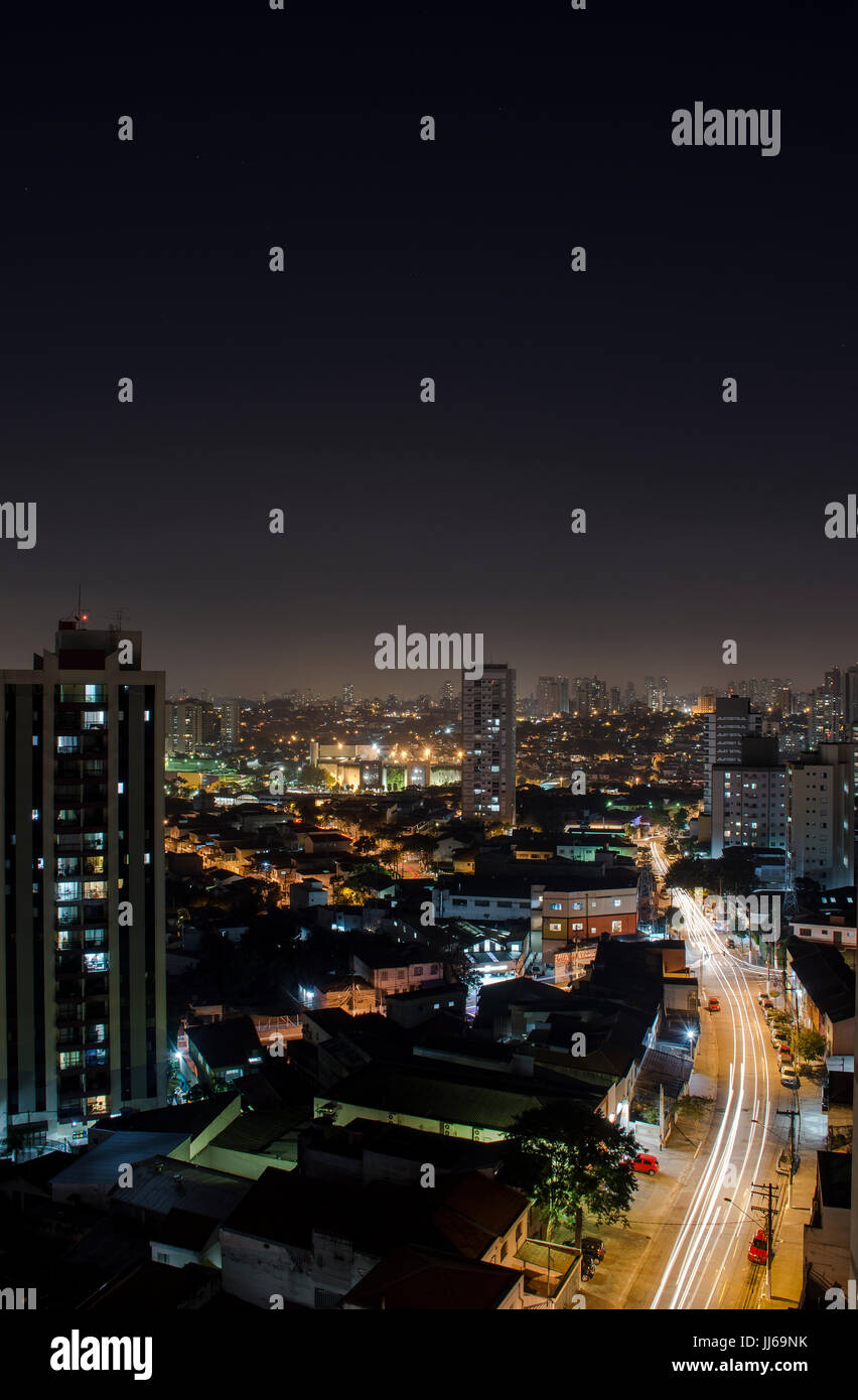Sao Paulo Skyline Cityscape From Above At Night - Stock Image