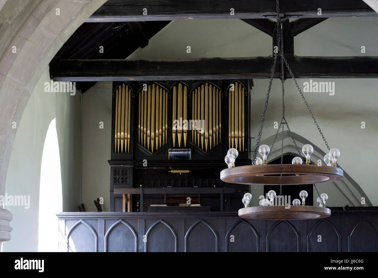 Interior view with organ, St. Mary`s Church, Ardley, Oxfordshire, UK - Stock Image