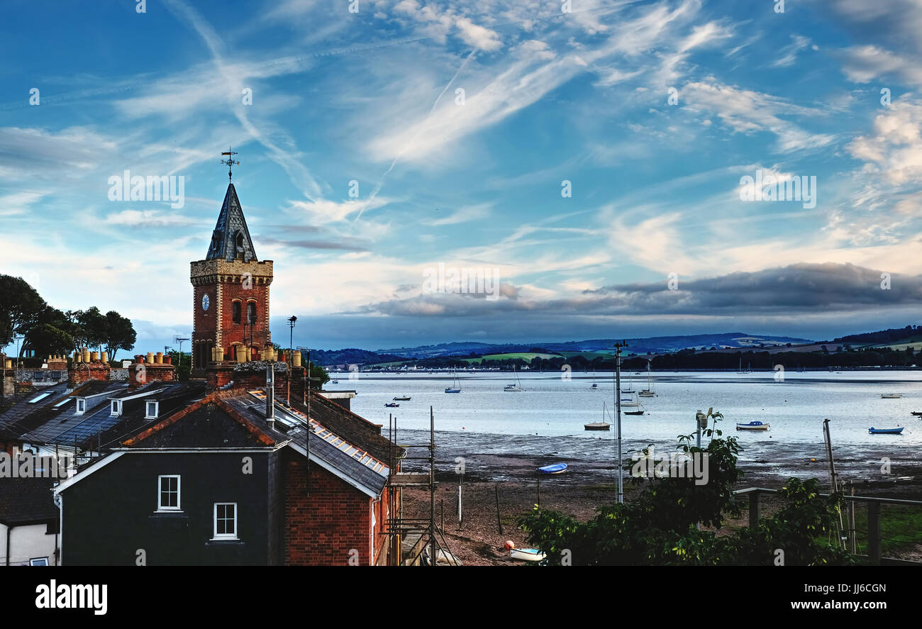 Lympstone, Devon showing St Peter's Tower and the Exe Estuary - Stock Image