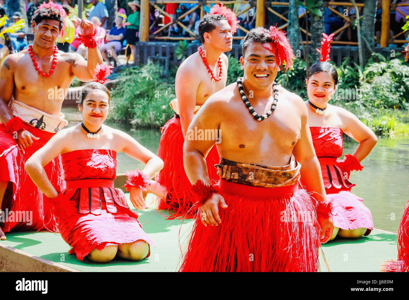 Honolulu, Hawaii - May 27, 2016: Young Polynesian Performers entertaining visitors at the Polynesian Cultural Center - Stock Image