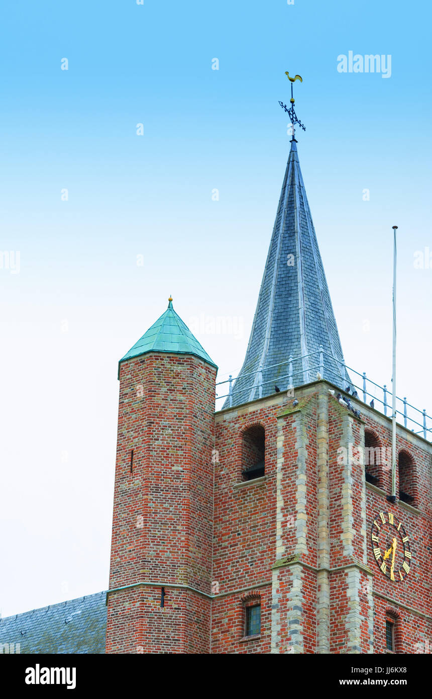 The church spire from the James church, Sint Jacobus in Renesse, Holland. - Stock Image