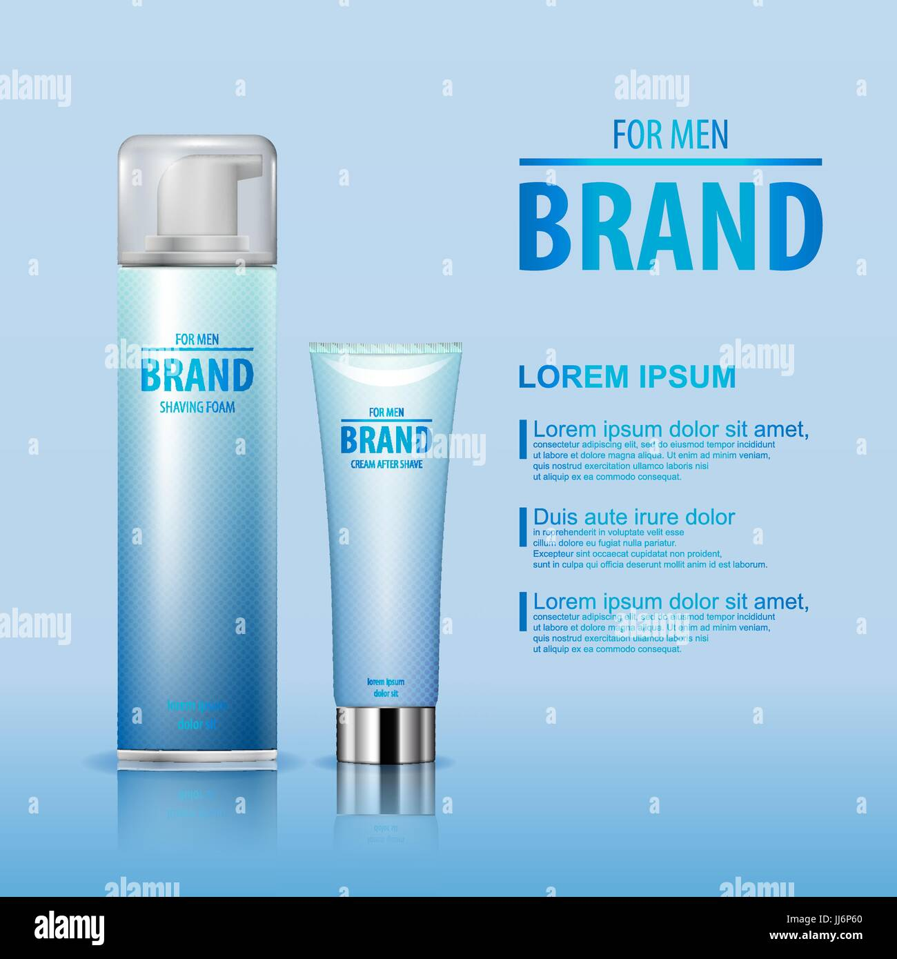 After shave cream and shaving foam set for man with brand name on blue background isolated. vector illustration. - Stock Image