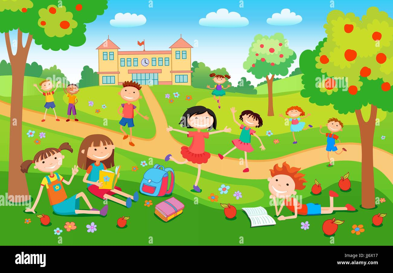 Children playing on the grass in the park before school - Stock Vector