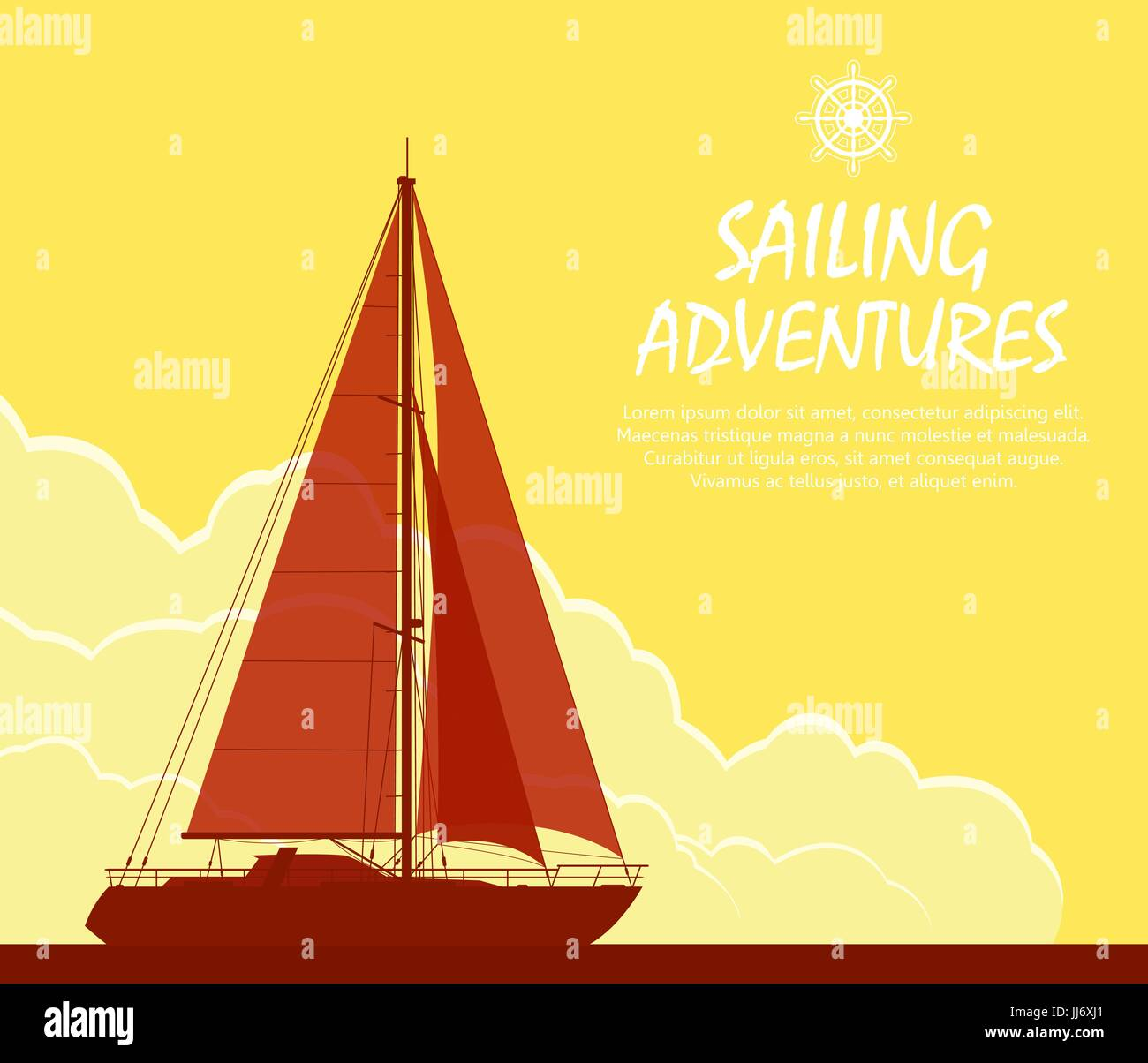 Sailing yacht at sunset - Stock Vector