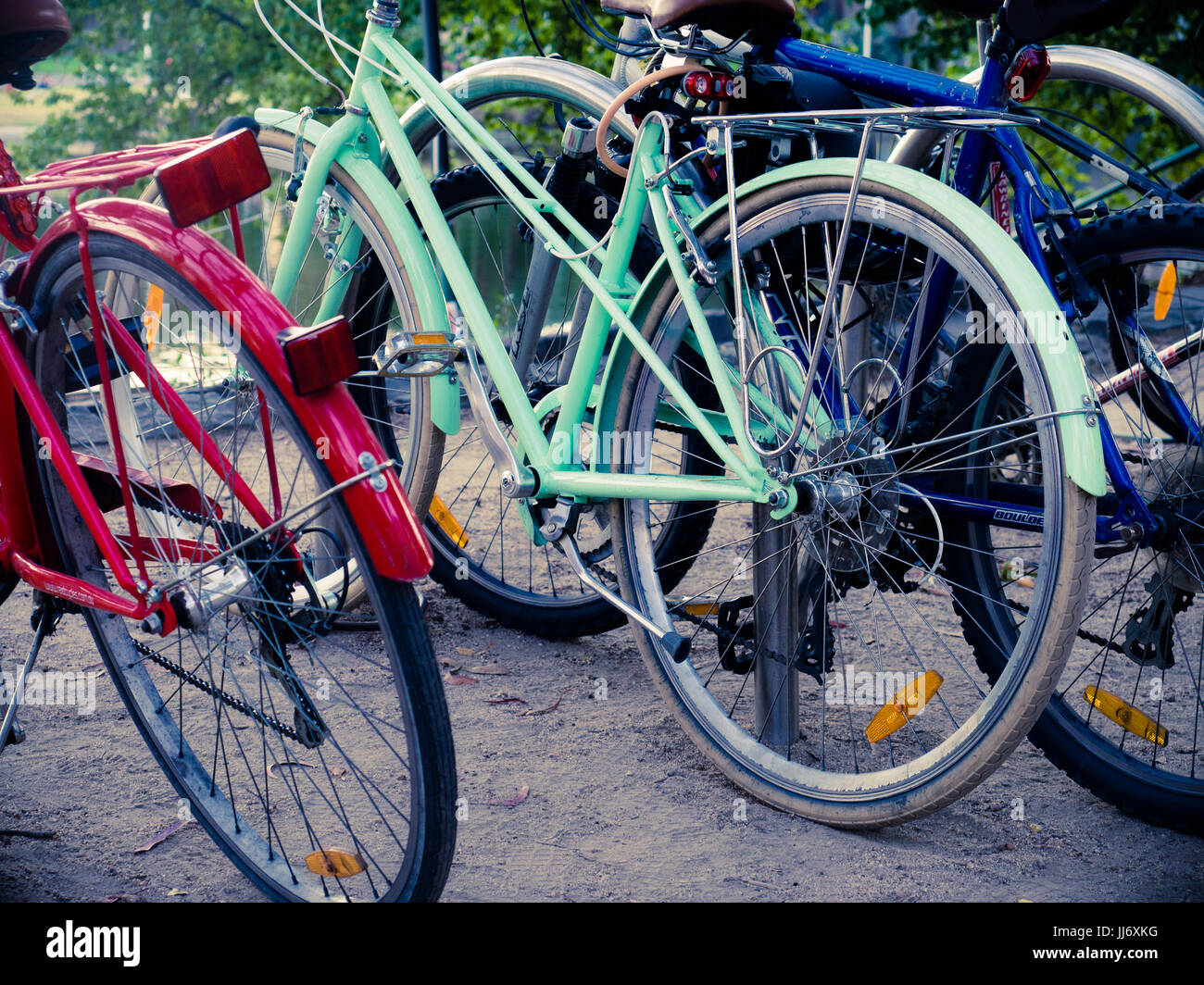Three Colourful Bicycles - Stock Image