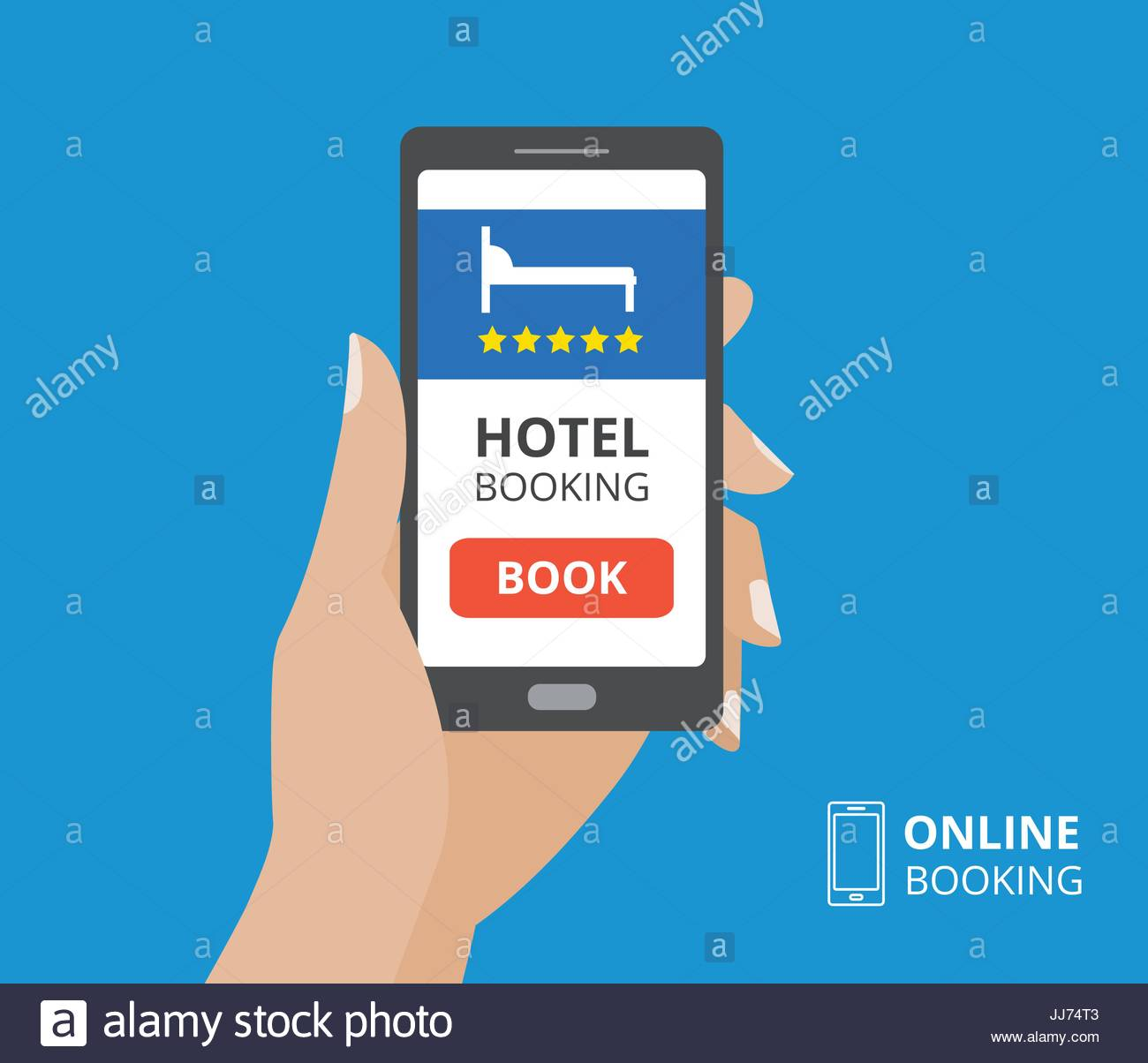 Design concept of hotel booking online. Hand holding smartphone with book button and bed icon on screen